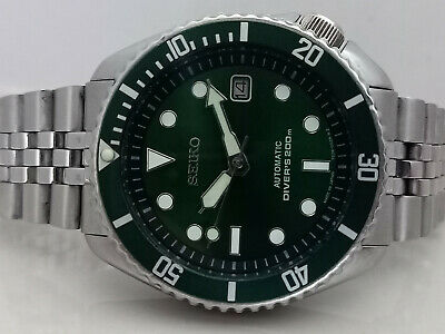 AU0.01 • Buy Green Sunburst Mod Seiko Diver 7002-700a Automatic Men's Watch Sn 121407