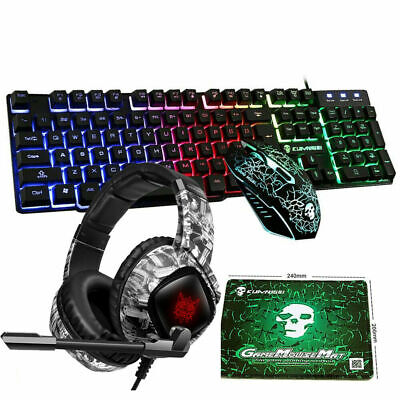 AU66.78 • Buy 4in1 Combo For PS4 Usb Gaming Keyboard Mouse And Headset Wired Rainbow Backlit