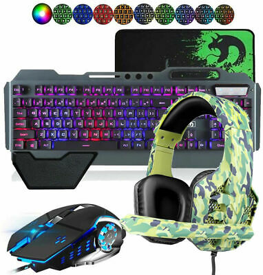 AU74.70 • Buy Gaming Keyboard Mouse Set Rainbow LED Wired USB And  M1 Headset For PC PS4 Xbox