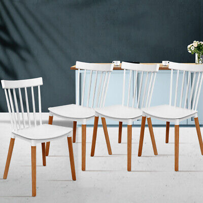 AU126.95 • Buy 4 X Elegant Contoured Dining Chairs Kitchen Cafe Seat Stackable Beech Wood Legs