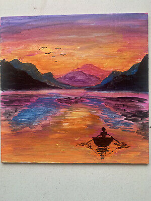 Landscape Painting Man In Boat. • 15£