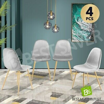 AU149.75 • Buy 4x Dining Chairs Fabric Velvet Kitchen Cafe Modern Metal Legs Seat Armchair Grey
