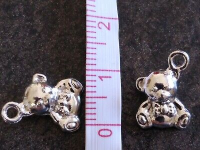 £0.99 • Buy 5 X Silvertone Teddy Bear Charms For Jewellery Projects, Baby Showers Etc.