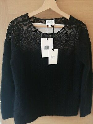 $ CDN131.50 • Buy Sezane Grace Lace And Mohair Jumper/Sweater, Black,Size S For UK 36, BNWT, RRP90