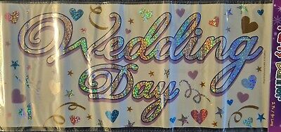 Giant Banner - Wedding Day - 2.7m/9ft Long Or 3 X 90cm Sashes Holographic  • 1.59£