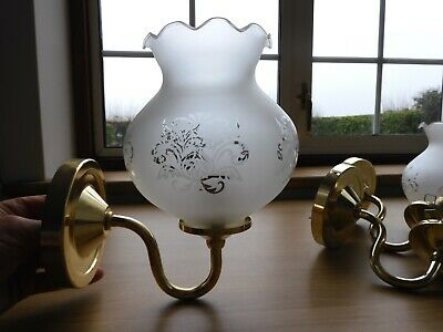 Set Of 3 Wall Lights, Gold Metal Brackets And Patterned Glass Lanterns • 24£