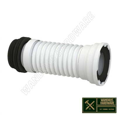 200 - 350mm MINI SHORT FLEXIBLE WC PAN CONNECTOR To 110mm 4  PIPE TOILET WASTE • 12.99£