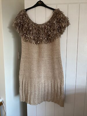 Joe Browns Taupe Off The Shoulder Knitted Dress With Ribbons Size 16 Ex. Con  • 5£