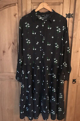 Women Ex New Look Black Ditsy Floral Print Smock Shirt Dress Size 14 BNWOT • 3.80£