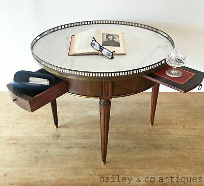 AU1185 • Buy Antique French Parisian Bouillotte Table Marble Top Brass Gallery  - SF028