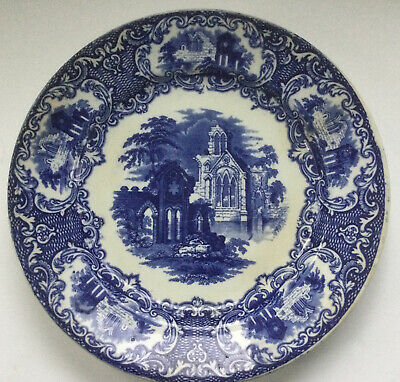 """$7.95 • Buy Petrus Regout Abbey Luncheon Plate Blue Transferware Maastricht Holland 9"""""""