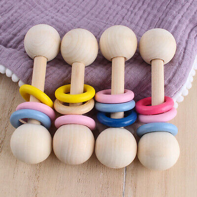 £2.99 • Buy Safe Natural Wooden Baby Rattles Toy Painted Ring Wood Teething Montessori Toys