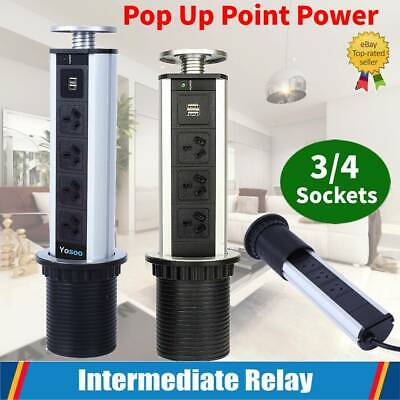 AU27.99 • Buy 3/4 Sockets Pop Up Point Power Outlet Charging + 2 USB Charger Home Office AU