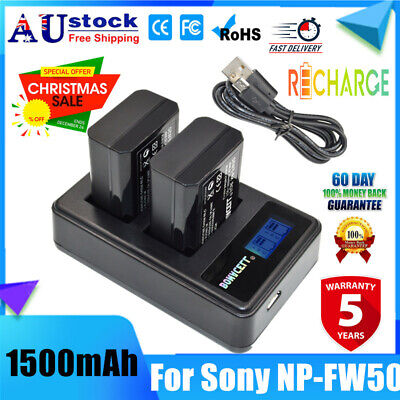 AU28.99 • Buy 2X NP-FW50 Battery + LCD USB Dual Charger For Sony A7 A7R A7S A5000 A6000 NEX-3