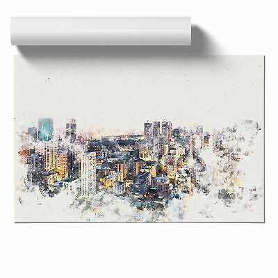 £11.95 • Buy Bangkok Skyline In Thailand Watercolour Wall Art Poster Home Decor Picture