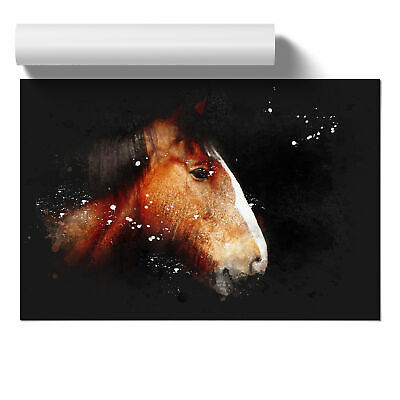 Brown Shire Horse Paint Splash Wall Art Poster Home Decor Picture • 11.95£