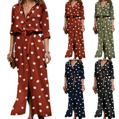 Long Women V-Neck Polka Dot Belted Maxi Party Dress Lady Beach Holiday Sundress • 15.90£