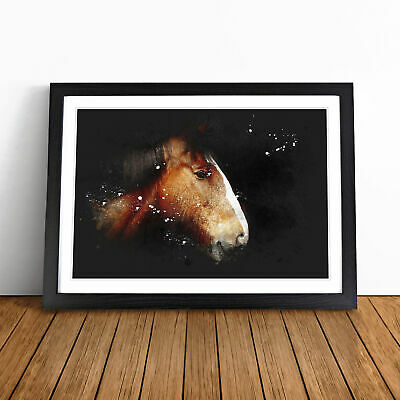 Brown Shire Horse Paint Splash Wall Art Framed Print Home Decor Picture • 18.95£