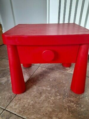 Mammut Kids Table / Bed Side Table , Red With A Drawer • 3.96£