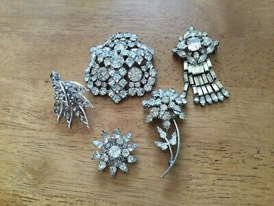 $ CDN35 • Buy Vintage Antique Clear Rhinestone  5 Brooches 1 Necklace Jewelry  lot 1940s