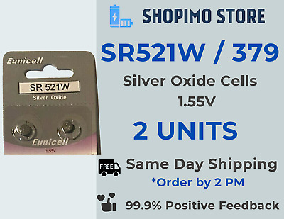 379 SR521SW S56 618 AG0 SR63 Watch Batteries Cell Silver-Oxide Battery X 2 Units • 1.99£