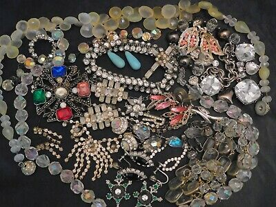 $ CDN37.86 • Buy Vintage Costume Jewelry Lot Rhinestones Bracelets Brooches Earrings Necklaces 26