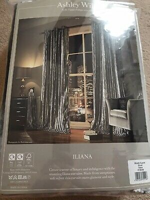 Iliana Ashley Wilde Eyelet Ring Top Velvet Lined Curtains, Silver, 66x90, New • 76.99£