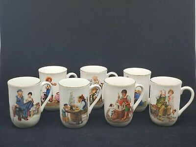 $ CDN40.66 • Buy Vintage 1982 Norman Rockwell Museum Collection Set Of 7 Coffee Cups Mugs
