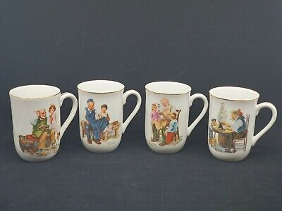 $ CDN25.24 • Buy Vintage 1982 Norman Rockwell Museum Collection Set Of 4 Coffee Cups Mugs