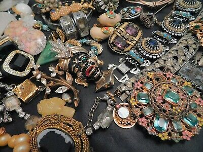 $ CDN37.86 • Buy Huge Vintage Antique Costume Jewelry Lot Rhinestone Glass Repair Harvest Signed