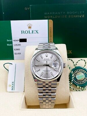 $ CDN9617.21 • Buy Rolex Datejust 126200 Silver Index Dial Stainless Steel Box Papers 2019