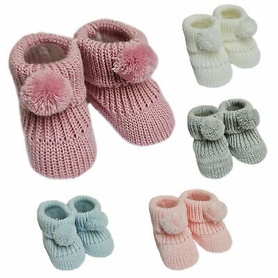 £3.49 • Buy Newborn Baby Boys Girls 1 Pair Pom Pom Baby Booties NB-3 Months Approx Bootees