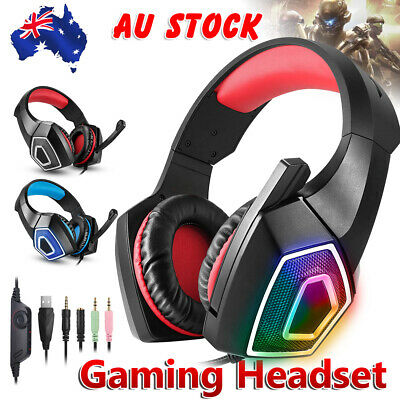 AU29.95 • Buy LED Gaming Headset Stereo Bass Surround Headphones For PC Laptop PS4 Xbox One AU