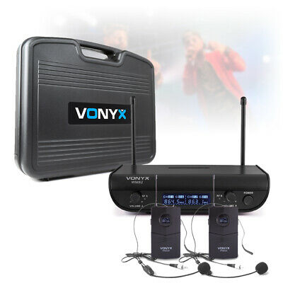 2 Channel Digital UHF Wireless Microphone System Dual Bodypack Headset Vocal PA • 73£