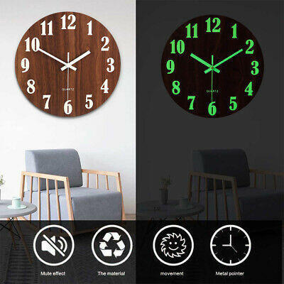 £10.95 • Buy Round Luminous Wall Clock Glow In The Dark Silent Non Ticking Home Office Decor