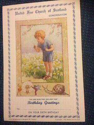 Vintage Margaret Tarrant Church Sixth Birthday Card Mint Condition • 2£
