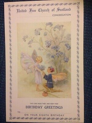 Vintage Margaret Tarrant Church Eighth Birthday Card Mint Condition • 2£