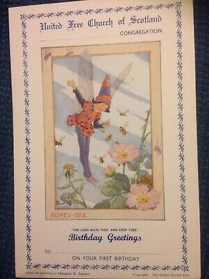 Vintage Margaret Tarrant Church First Birthday Card Mint Condition • 2£