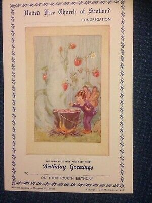 Vintage Margaret Tarrant Church Fourth Birthday Card Mint Condition • 2£