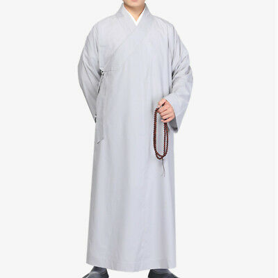 £38.99 • Buy Men Chinese Buddhist Monks Robe Long Gown Temple Shaolin Kung Fu Costume Loose