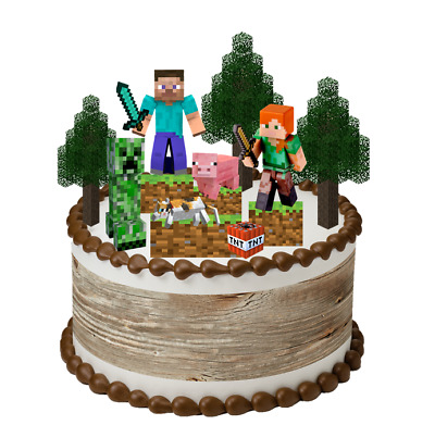 AU12.99 • Buy Minecraft Thick Edible Wafer Card Set Stand Up Cake Toppers Pre-cut Decorations