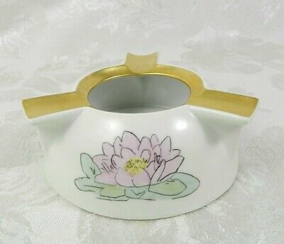 1929 Vintage Ceramic Ashtray White Floral Gold Accent 4  W Hand Painted • 14.46£