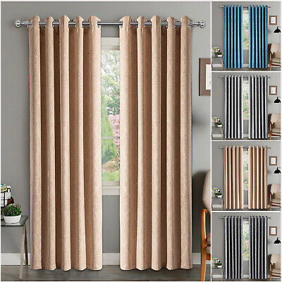 Dark Insulated Heavy Thick Thermal Blackout Curtains Ring Top Pair + Tie Backs • 19.99£
