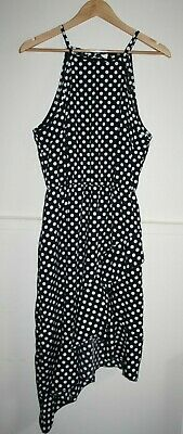 Women's Cocktail Party Black Polka Dot Sleeveless Asymmetric Dress Belt Size M • 14.97£