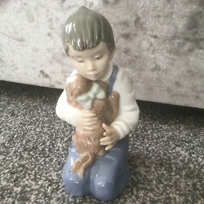 NAO BY LLADRO A FRIEND IN NEED  1050 BOY & PUPPY  Perfect Condition Ret 1997 • 23£
