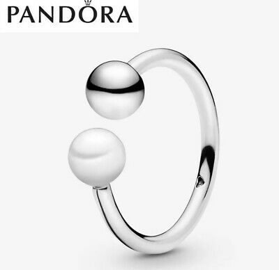 S925 Genuine Silver Pandora Bead & Freshwater Cultured Pearl Ring & Box Size 52 • 9.99£