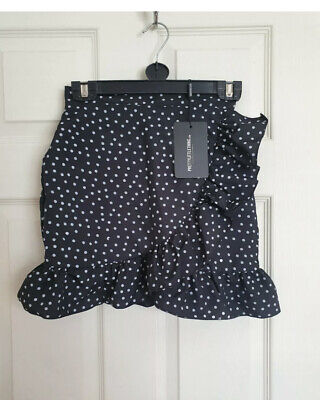 Pretty Little Thing Black White Polka Dot Ruffle Skirt - Size 10 • 0.99£