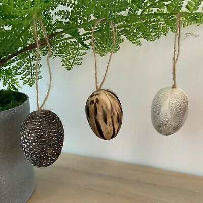 £14.69 • Buy 3 X Eggs With Bird Feathers Easter Decoration Hanging Tree Gisela Graham Bird