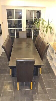 Ikea Bjursta Extendable Dining Table (Brown-black) With 8 Brown Dining Chairs  • 50£