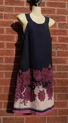 Navy Floral Dress, Debenhams John Rocha, Size 8, VGC • 5£